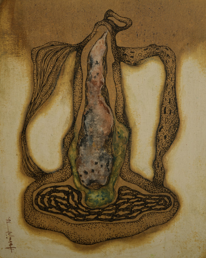 Balance by Abhijit Das, Conceptual Drawing, Mixed Media on Board, Brown color