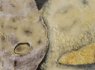 Mark 1 by Mansi Trivedi, Expressionism Painting, Mixed Media on Paper, Beige color