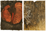 Severed ( Diptych ) by Mansi Trivedi, Abstract Painting, Mixed Media on Paper, Brown color