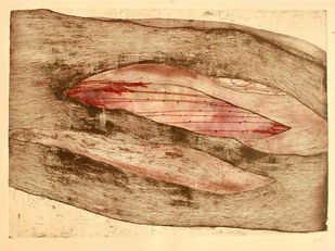 Interlace by Mansi Trivedi, Abstract Printmaking, Mixed Media on Paper, Brown color