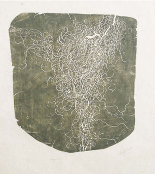 Resilent by Mansi Trivedi, Abstract Printmaking, Wood Cut on Paper, Beige color