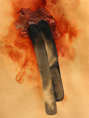 Grim 2 by Mansi Trivedi, Abstract Painting, Mixed Media on Paper, Beige color