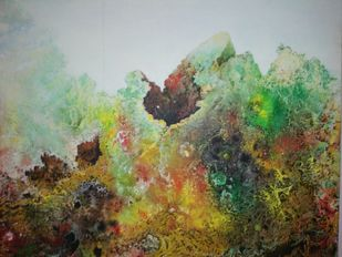 Rocks Beauty by Dhritivardhan Gupta, Abstract Painting, Acrylic & Ink on Canvas, Brown color