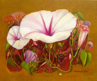 Morning Glory by Debarati Roy Saha, Impressionism Painting, Oil on Canvas,