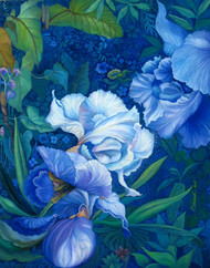 Garden at night by Debarati Roy Saha, Impressionism Painting, Oil on Canvas, Blue color