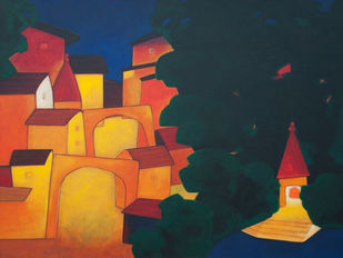 Healthy Town by Dipak Asole, Expressionism Painting, Acrylic on Canvas, Blue color
