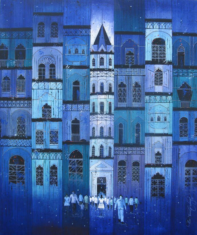 Blue City 536 by Suresh Gulage, Impressionism Painting, Acrylic on Canvas, Blue color
