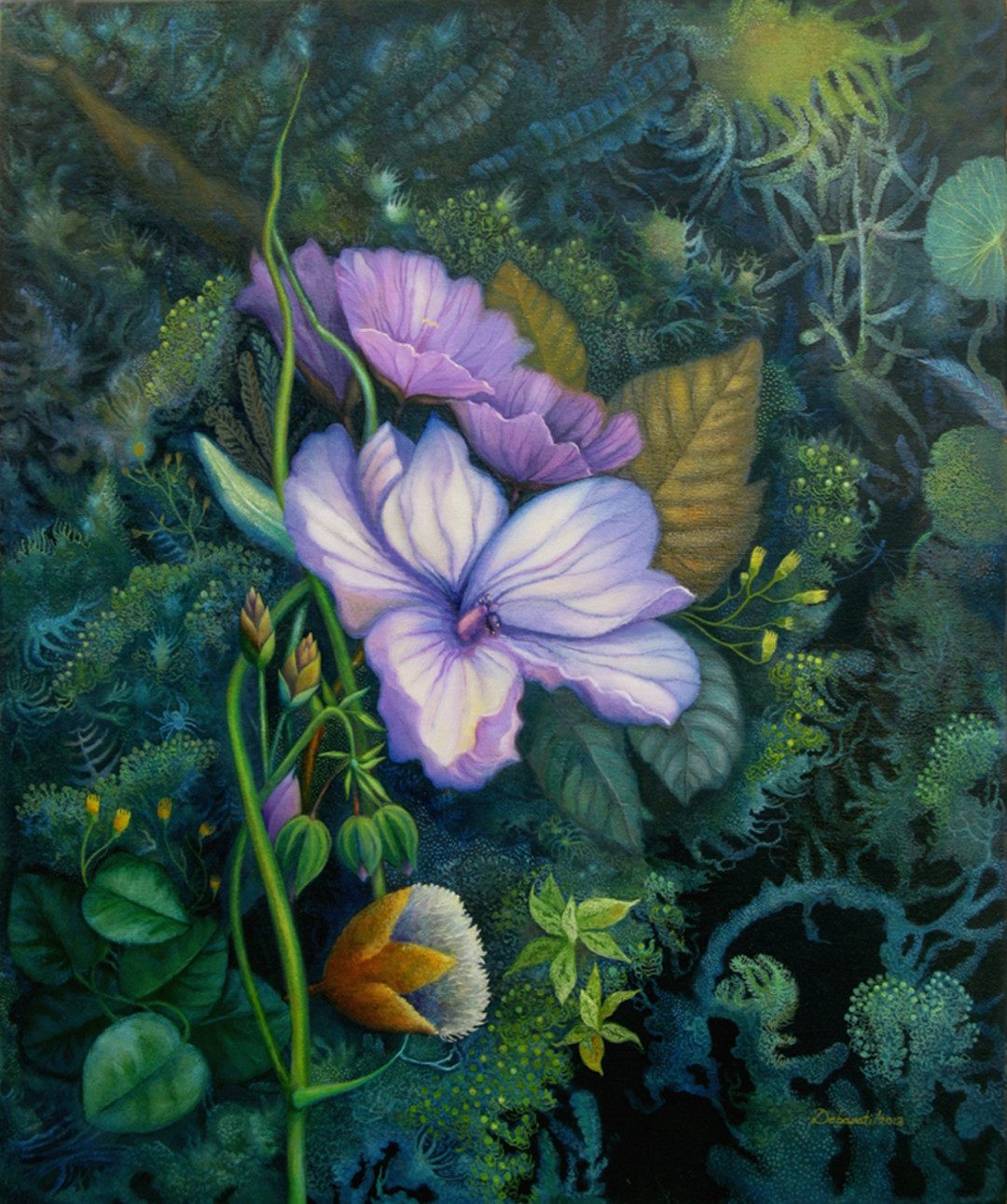 Mauve Fantasy by Debarati Roy Saha, Impressionism Painting, Oil on Canvas, Green color