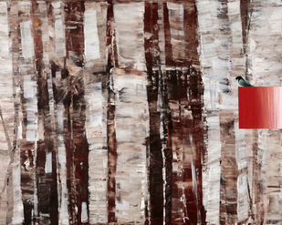 Time&Space-Cage by Ravi Gossain, Abstract Painting, Acrylic on Canvas, Brown color