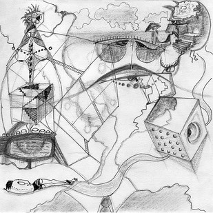 Untitled Under-Construction ( Katkegraphy Chapter One ) by Pranaay Katke, Illustration Drawing, Digital Print on Archival Paper, Gray color