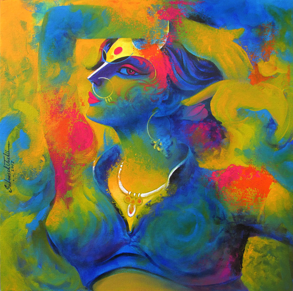 Mood-III by Subaassh Joshii, Expressionism Painting, Acrylic on Canvas, Green color