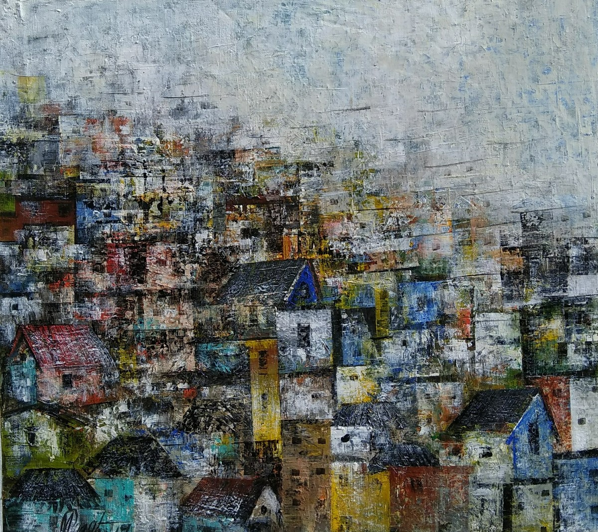 Glimpse of the village by M Singh, Expressionism Painting, Acrylic on Canvas, Gray color
