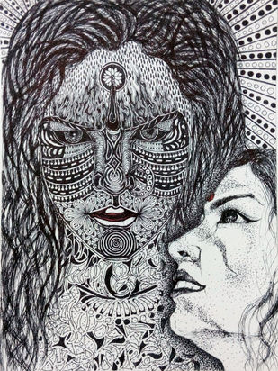 Birth of Kali by Reva Pandit, Illustration Drawing, Digital Print on Archival Paper, Gray color