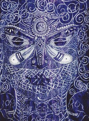 Astound Kali by Reva Pandit, Illustration Drawing, Digital Print on Archival Paper, Blue color