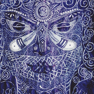 Astound Kali by Reva Pandit, Illustration Drawing, Digital Print on Archival Paper, Blue color