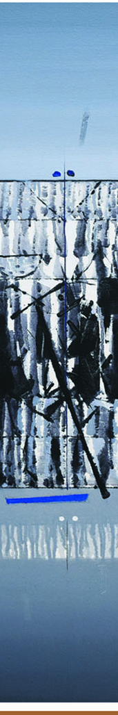 mindscape-I by Sanjay Tikkal, Abstract Painting, Acrylic on Canvas, Gray color