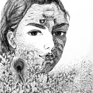 Meera by Reva Pandit, Illustration Drawing, Digital Print on Archival Paper, Gray color