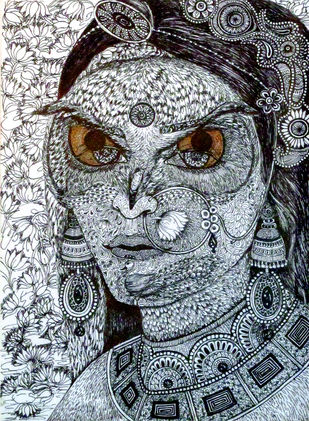 Lakshmi Alakshmi by Reva Pandit, Illustration Drawing, Digital Print on Archival Paper, Gray color
