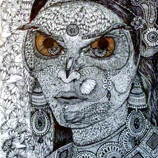 Lakshmi Alakshmi by Reva Pandit, Illustration Drawing, Digital Print on Archival Paper, Gray color
