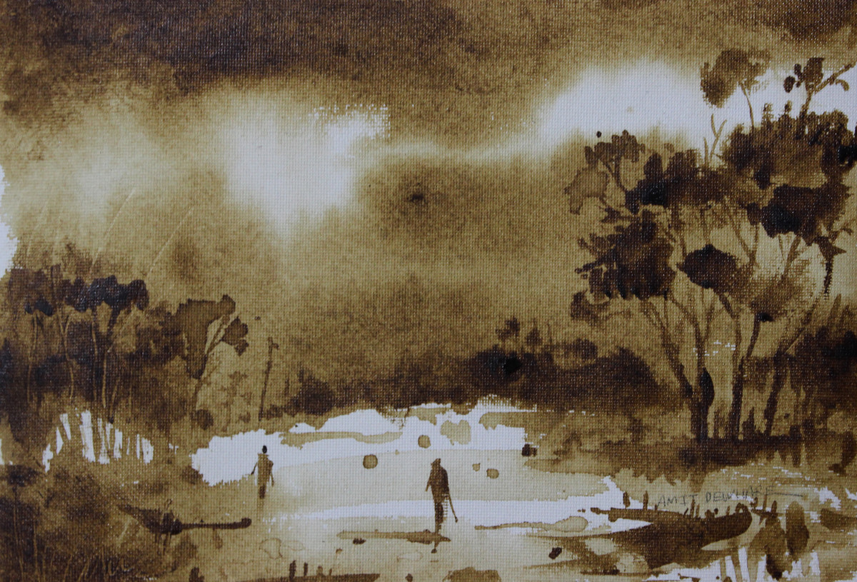 Landscape by Amit Dewhare, Impressionism Painting, Water Based Medium on Paper, Brown color