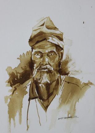 sadhu Digital Print by Amit Dewhare,Expressionism