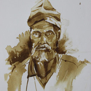 sadhu by Amit Dewhare, Expressionism Painting, Water Based Medium on Paper, Gray color