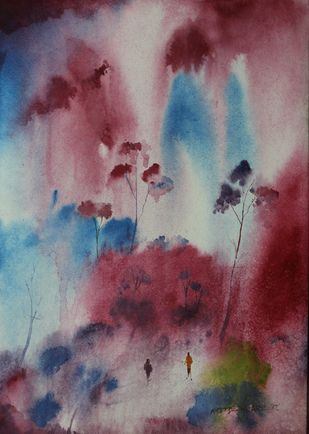 Landscape by Amit Dewhare, Abstract Painting, Watercolor on Paper, Brown color