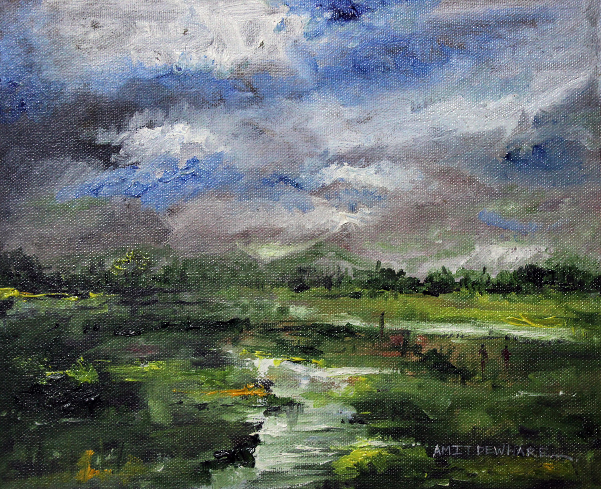 Landscape by Amit Dewhare, Impressionism Painting, Oil on Canvas Board, Green color