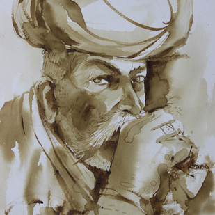 portrait by Amit Dewhare, Expressionism Painting, Water Based Medium on Paper, Brown color