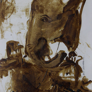 ganesha by Amit Dewhare, Traditional Painting, Water Based Medium on Paper, Brown color