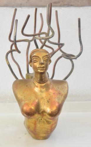 Prakriti by Shivarama Chary. Y, Art Deco Sculpture | 3D, Bronze, Beige color
