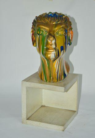 Head by Shivarama Chary. Y, Art Deco Sculpture | 3D, Fiber Glass, Gray color