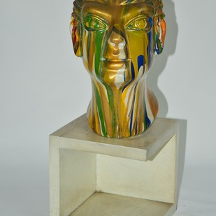 Head by Shivarama Chary. Y, Art Deco Sculpture | 3D, Fiber Glass, Gray color