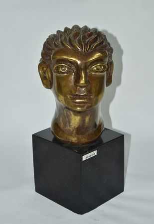 Head by Shivarama Chary. Y, Art Deco Sculpture | 3D, Bronze, Gray color