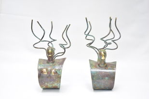 Blossoming Love by Shivarama Chary. Y, Art Deco Sculpture | 3D, Bronze, Gray color