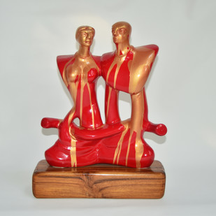 Blossoming Love by Shivarama Chary. Y, Expressionism Sculpture | 3D, Fiber Glass, Gray color