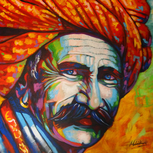 Colorful life by Mahesh Kummar, Expressionism Painting, Acrylic on Canvas, Brown color