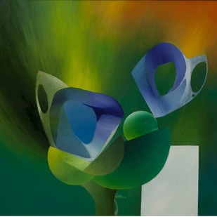 Butterflies and Buds by Ravi Gossain, Expressionism Painting, Oil on Canvas, Green color