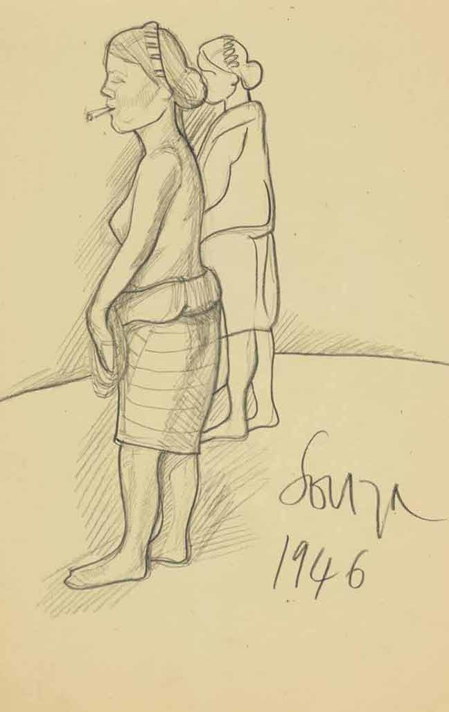 untitled by f n souza illustration drawing pencil on paper beige color