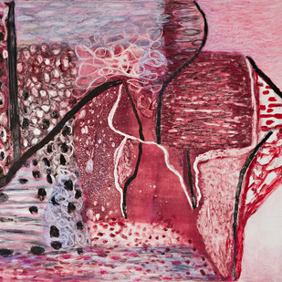 Boundaries by Tara Sabharwal, Abstract Painting, Watercolor & Ink on Paper, Pink color