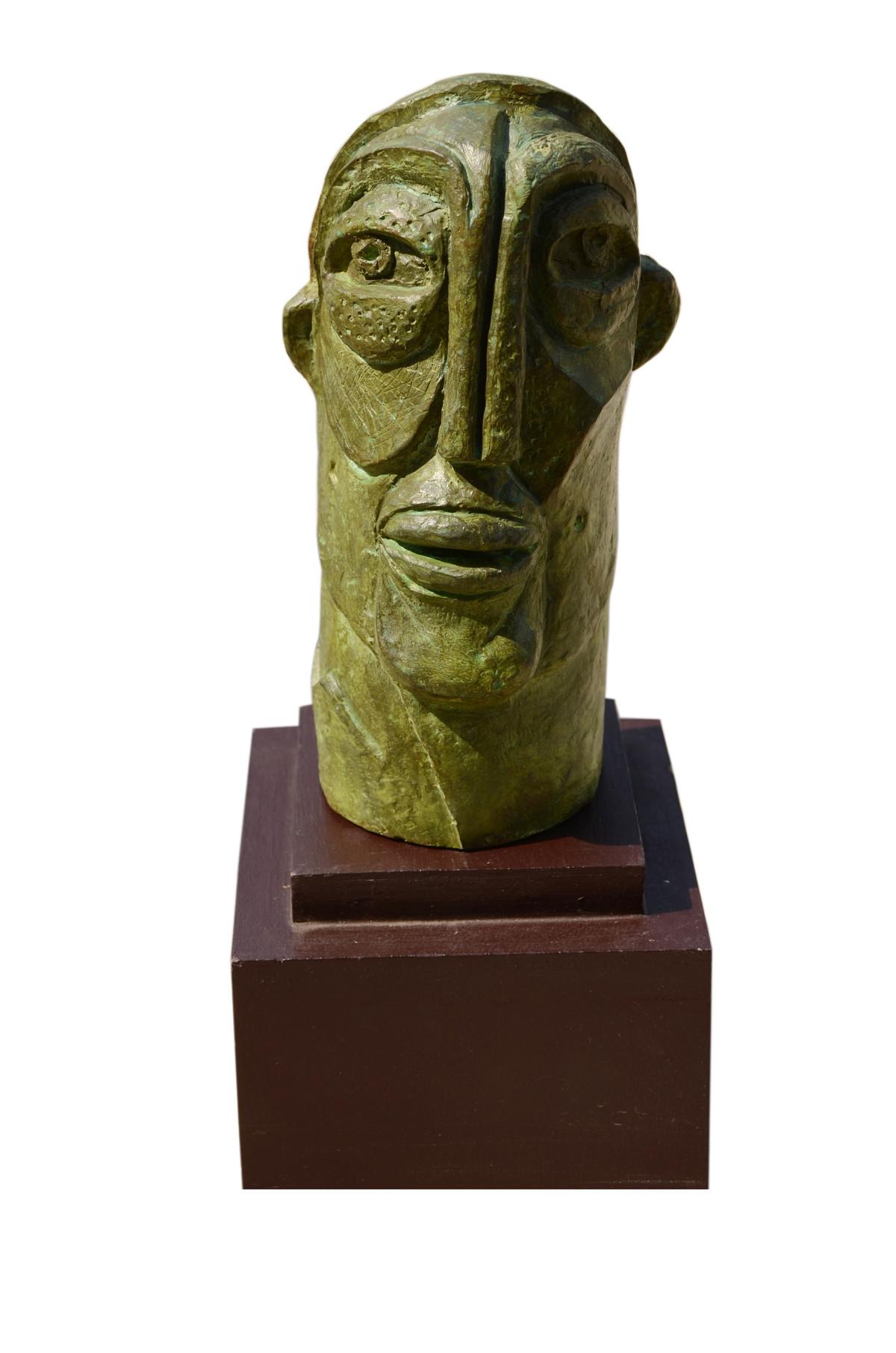 Face 02 by Atish Mukherjee, Art Deco Sculpture | 3D, Bronze, White color