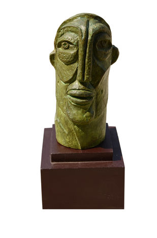 Face 02 by Atish Mukherjee, Art Deco Sculpture | 3D, Bronze, White color