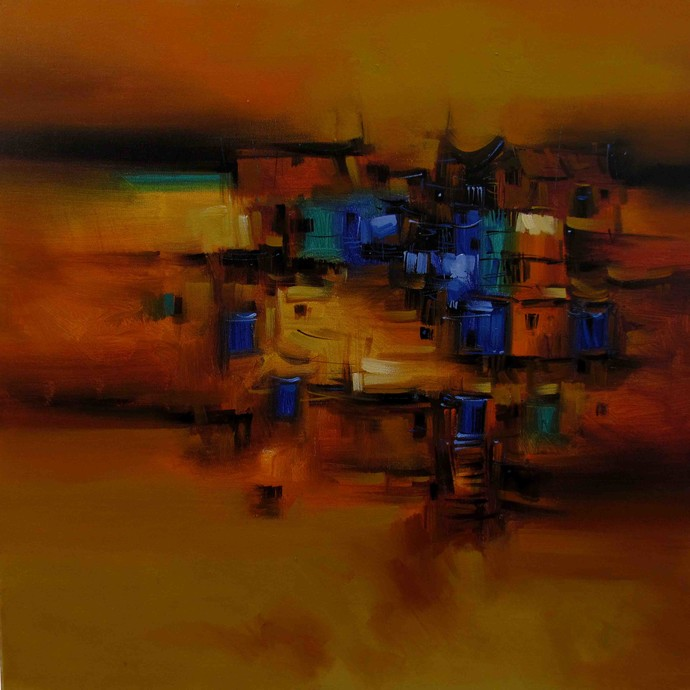 Old House by Arvind Kolapkar, Abstract Painting, Acrylic on Canvas, Brown color