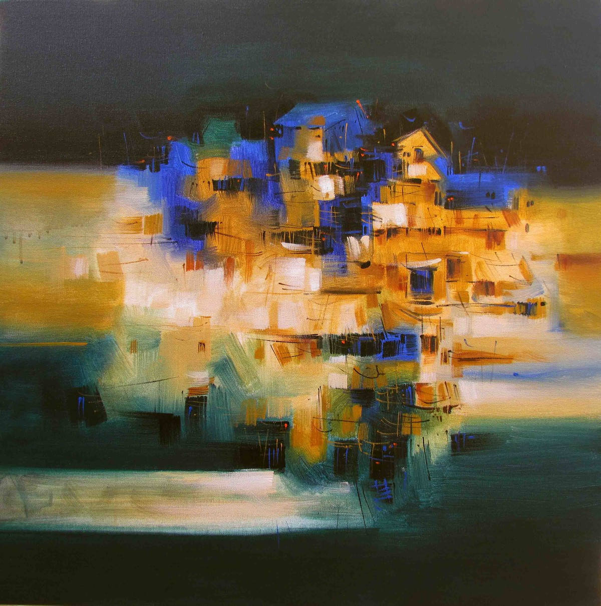 Yellow city by Arvind Kolapkar, Abstract Painting, Acrylic on Canvas, Brown color