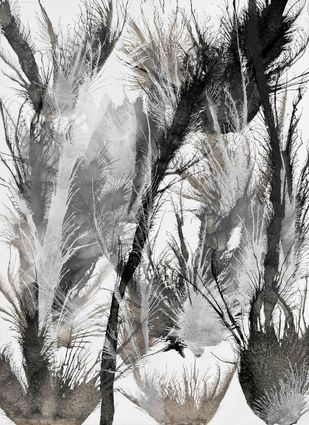 Exploflora Series No. 19 by Sumit Mehndiratta, Decorative Painting, Acrylic on Canvas, Gray color