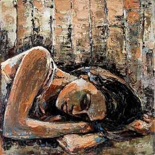 Modern Art (Hostel Life-dreams) by gurdish pannu, Expressionism Painting, Acrylic on Canvas, Brown color