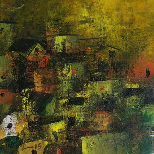 Golden Village by M Singh, Abstract Painting, Acrylic on Canvas, Green color