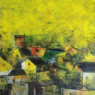 Village in Yellow by M Singh, Geometrical Painting, Acrylic on Canvas, Green color