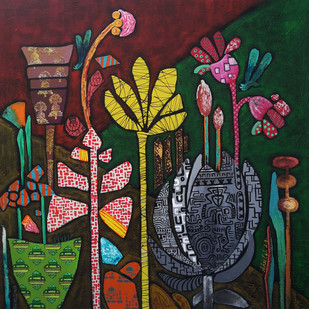 Flowers 2 by Sheetal Singh, Geometrical Painting, Acrylic on Canvas, Brown color