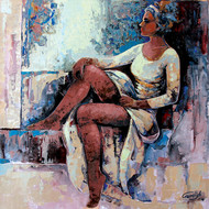 Modern art (Beautiful Girl) by gurdish pannu, Expressionism Painting, Acrylic on Canvas, Brown color